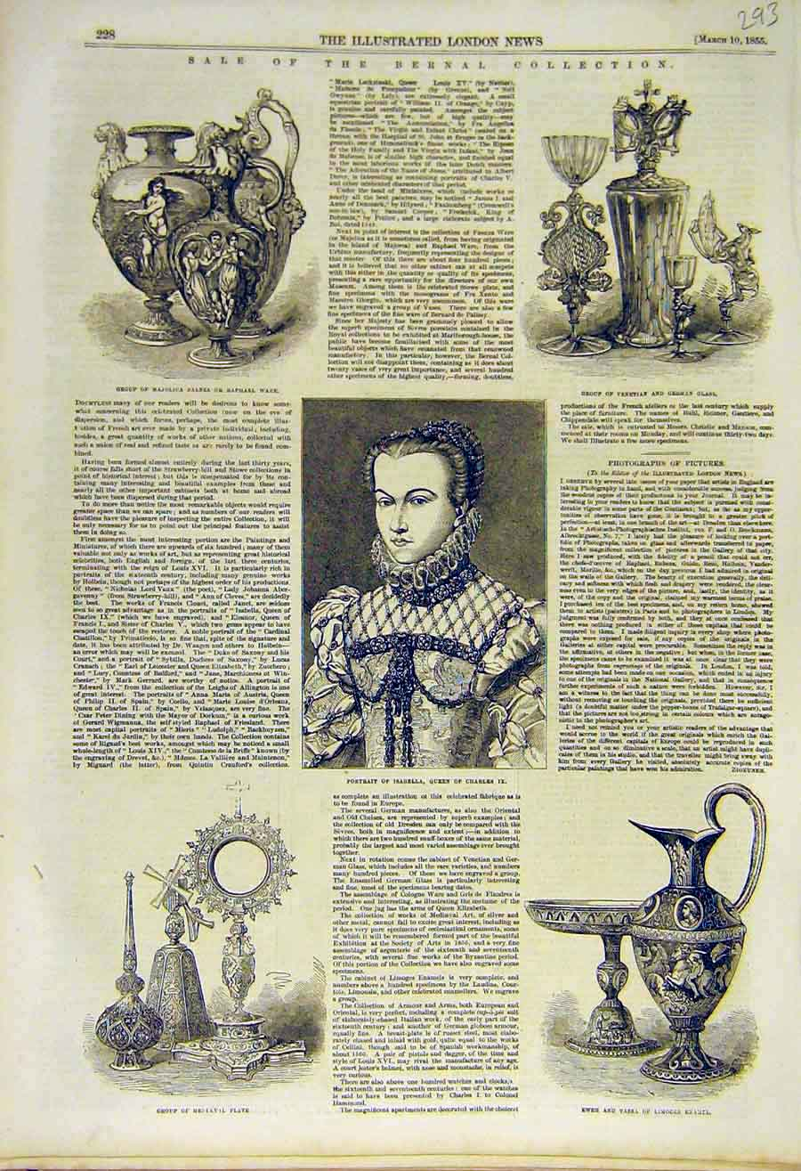 Print 1855 Bernal Collection Portrait Isabella Plate Ewer 93Ccc0 Old Original
