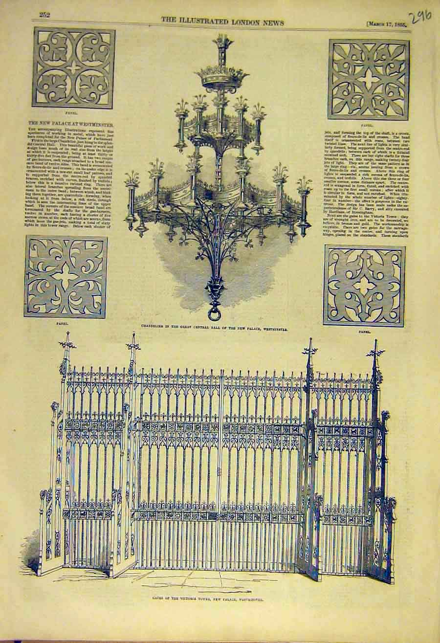 Print 1855 Chandelier Westminster Victoria Tower Gates Panel 96Ccc0 Old Original