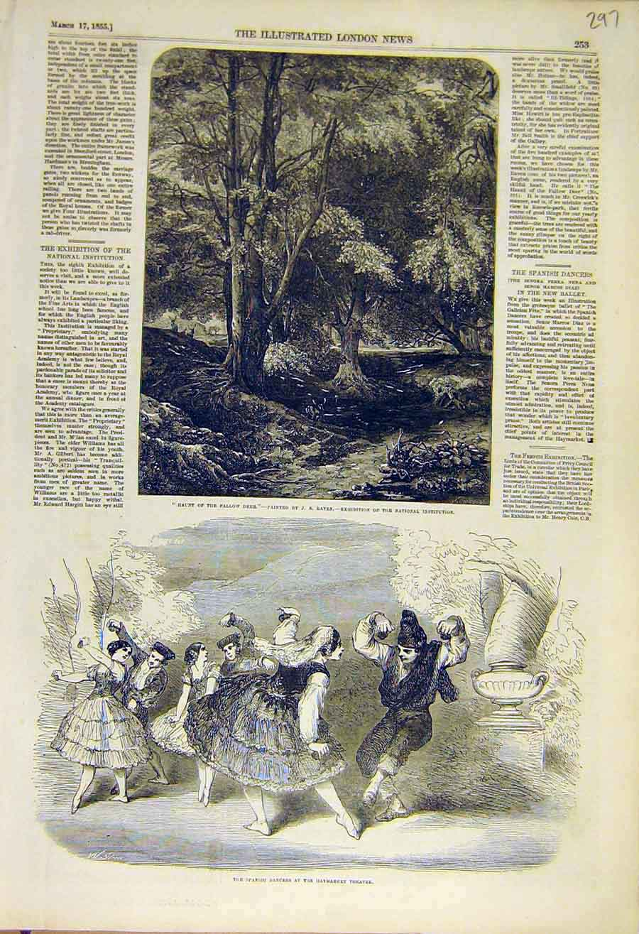 Print Haunt Fallow Deer Raven Spanish Dancers Theatre 1855 97Ccc0 Old Original