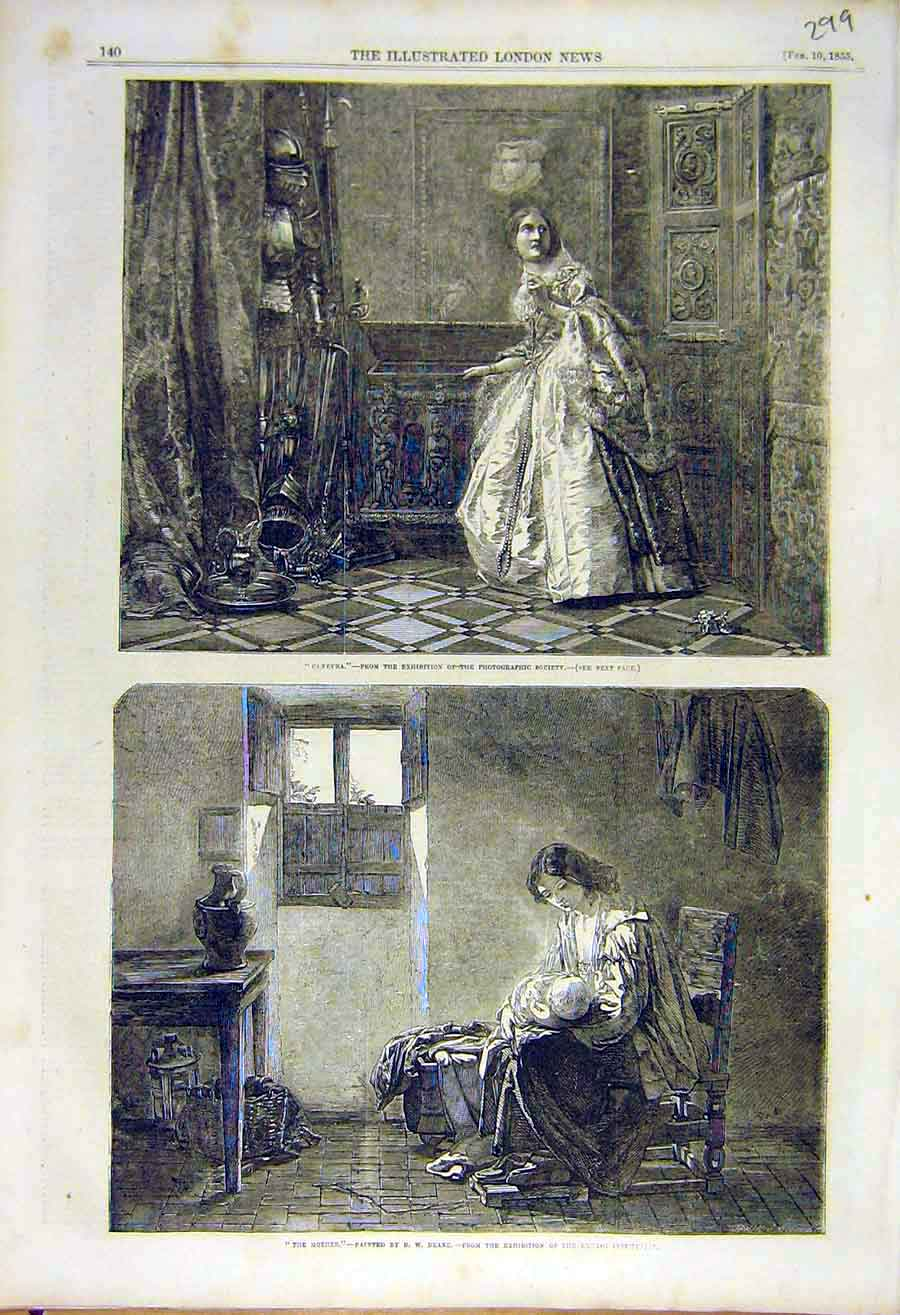 Print Glenevra The-Mother Deane Fine Art 1855 Lady 99Ccc0 Old Original