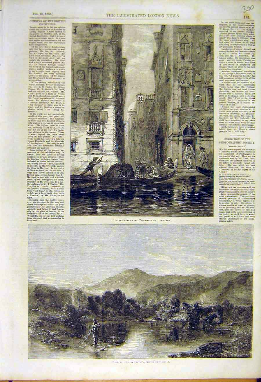 Print Grand-Canal Holland Trophies-Youth Danby Fine Art 1855 00Ccc0 Old Original