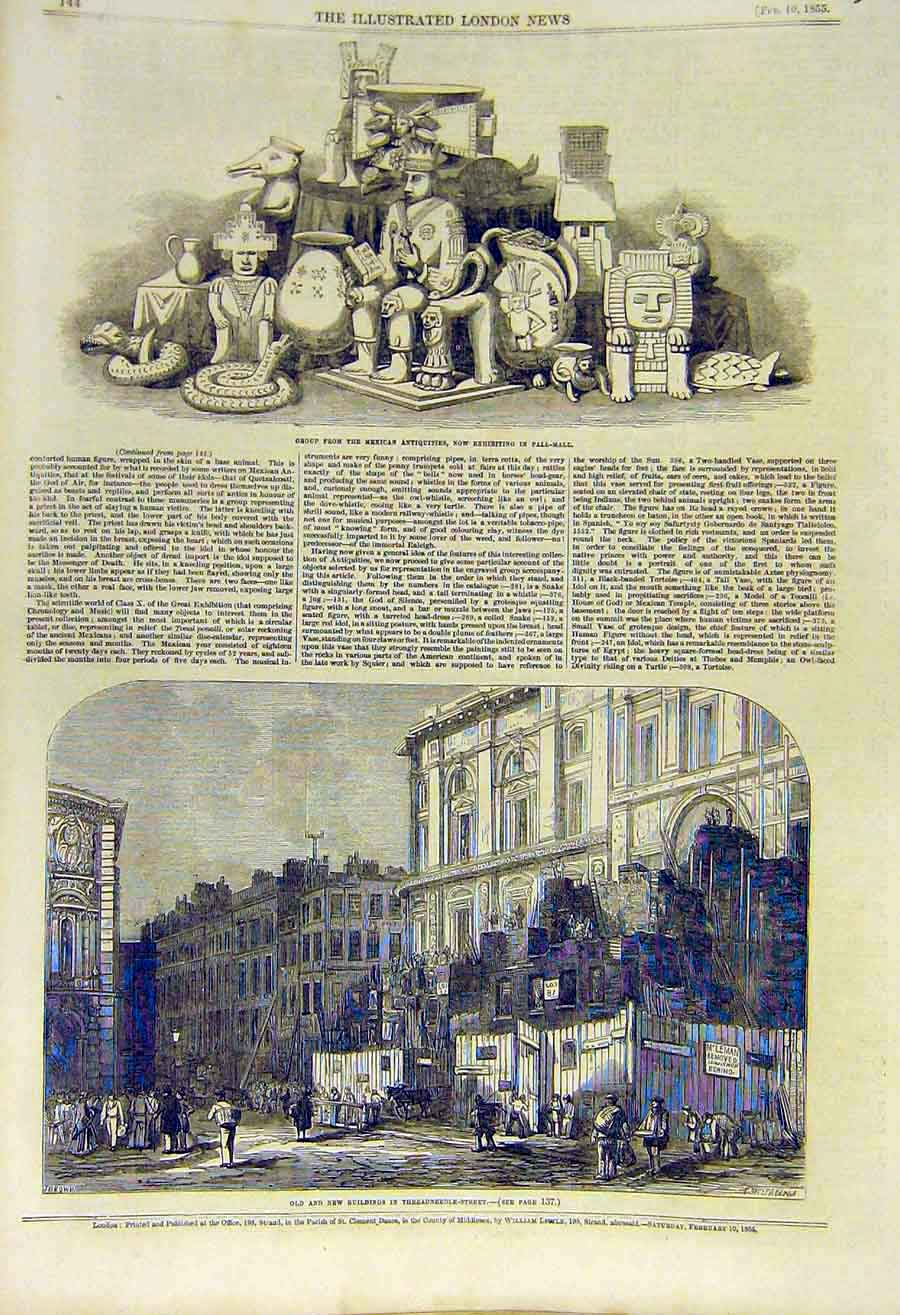 Print Mexican Antiquities Pall-Mall Buildings Threadneedle 01Ccc0 Old Original