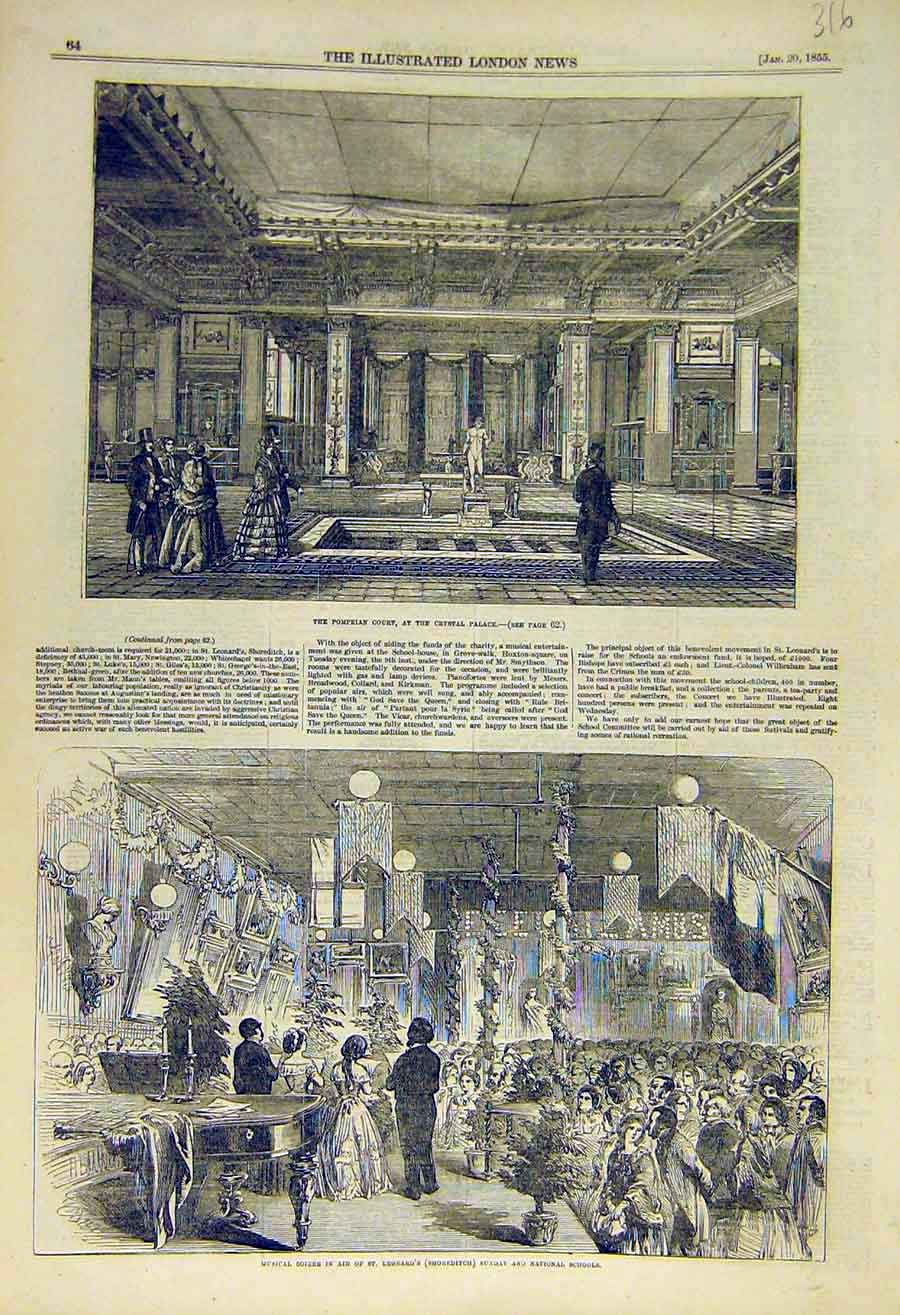 Print Pompeian Court Crystal Palace Musical Soiree Shoreditch 16Ccc0 Old Original