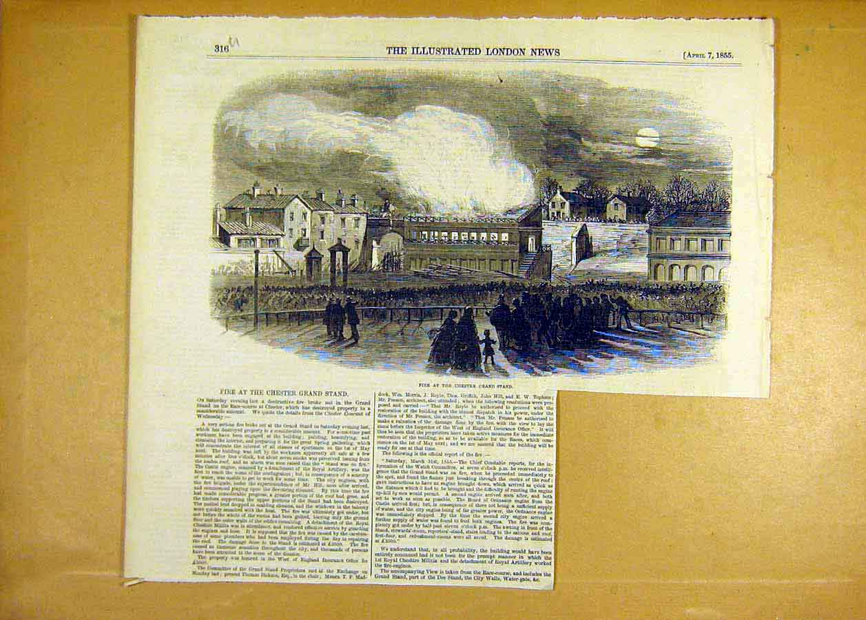 Print Fire Chester Grand-Stand Race-Course 1855 16Uccc0 Old Original