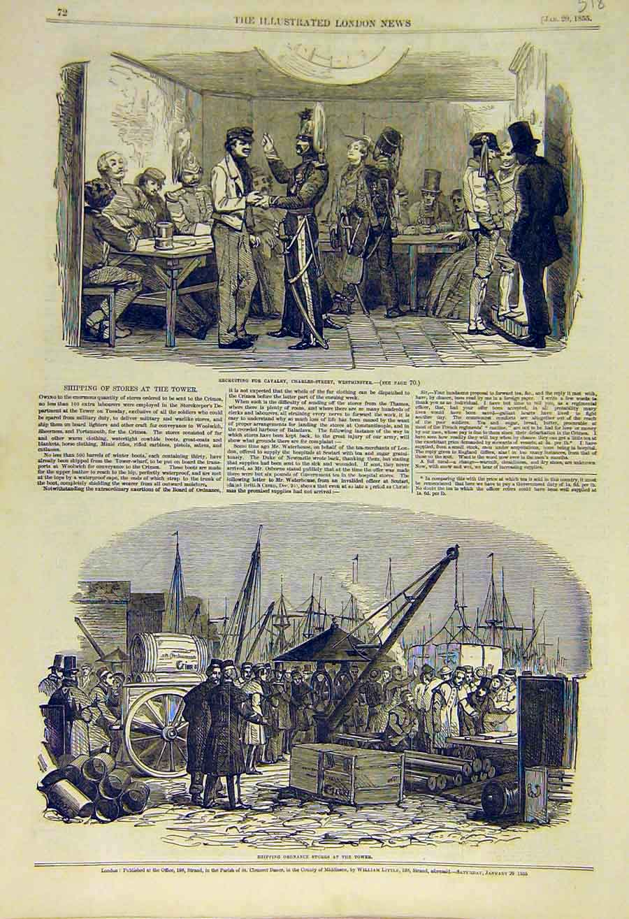 Print Cavalry Recruit Westminster Shipping Ordnance Stores 18Ccc0 Old Original