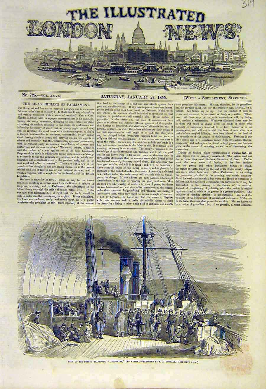 Print Deck French Transport L'Euphrate Messina Goodall 1855 19Ccc0 Old Original