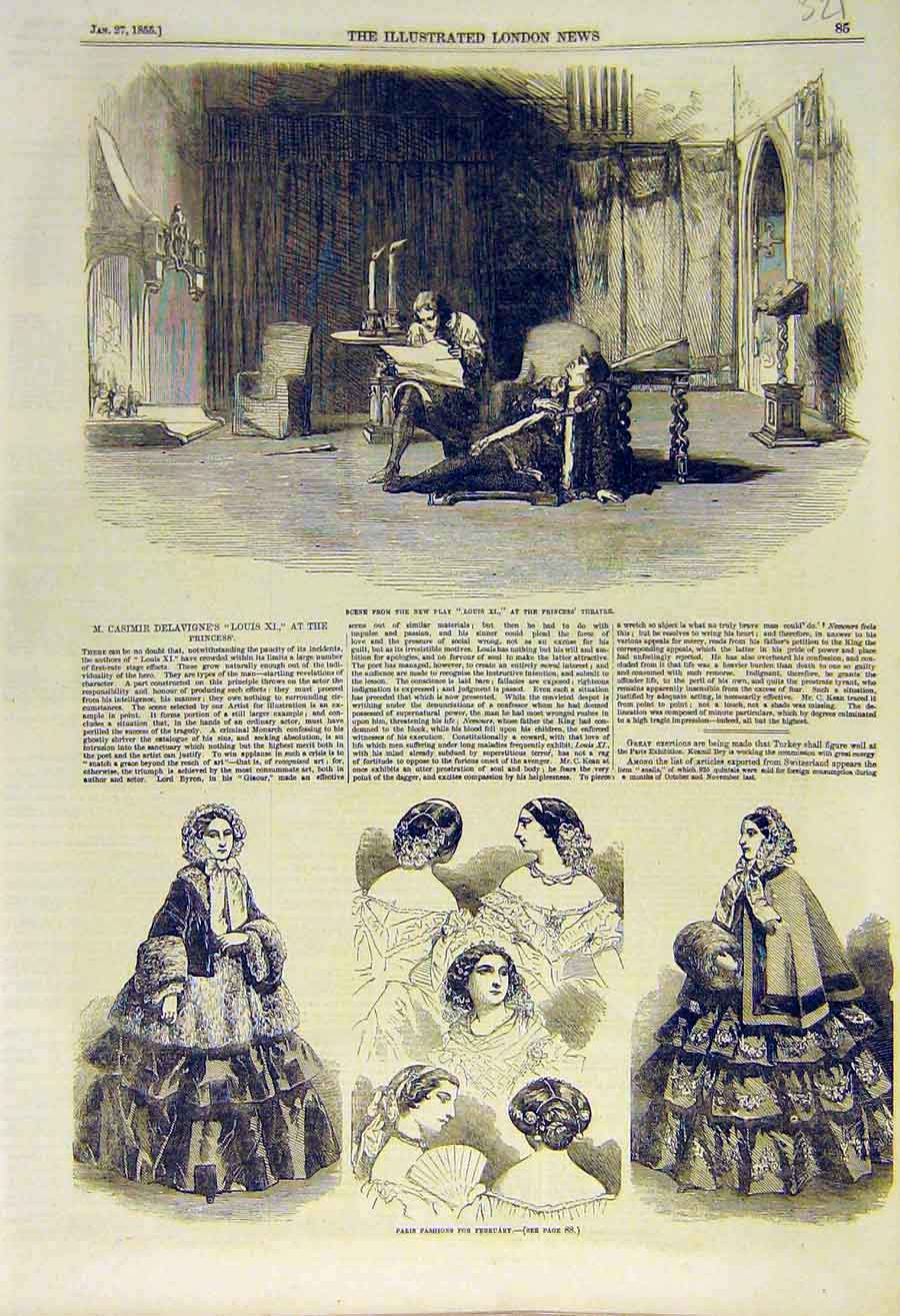 Print Scene Louis-Xi Theatre Paris Fashions Ladies 1855 21Ccc0 Old Original