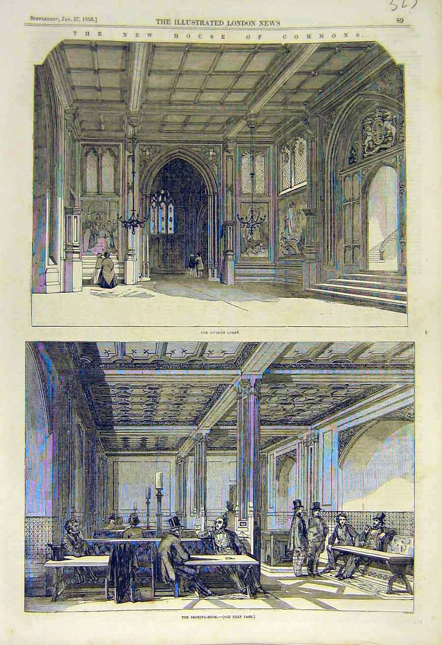 Print House Commons Division-Lobby Smoking-Room 1855 23Ccc0 Old Original