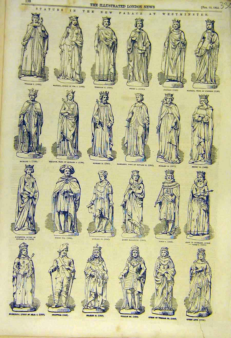 Print Statues Palace Westminster Royal King Queen 1855 30Ccc0 Old Original
