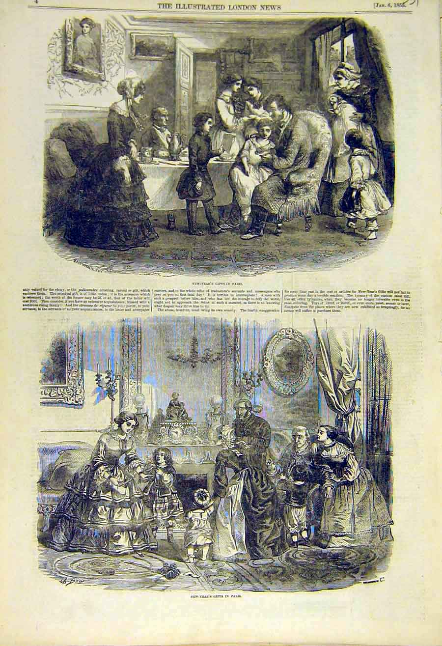 Print New-Year Gifts Paris France French 1855 31Ccc0 Old Original
