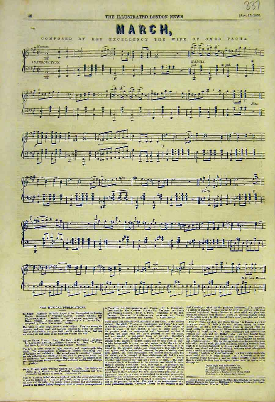 Print March Music-Score Musical Wife-Omer Pacha 1855 37Ccc0 Old Original