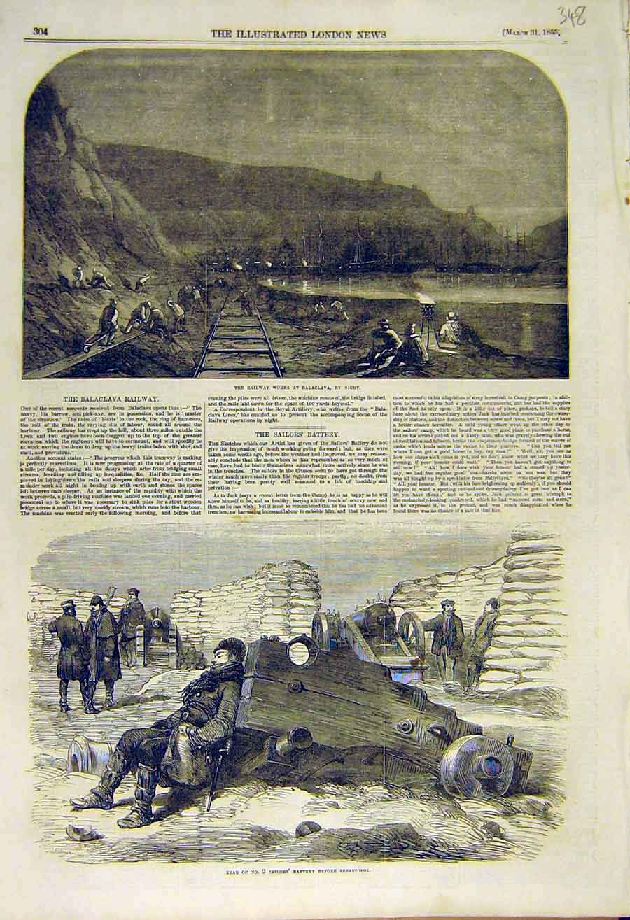 Print Railway Works Balaclava Sailor'S Battery Sebastopol 48Ccc0 Old Original