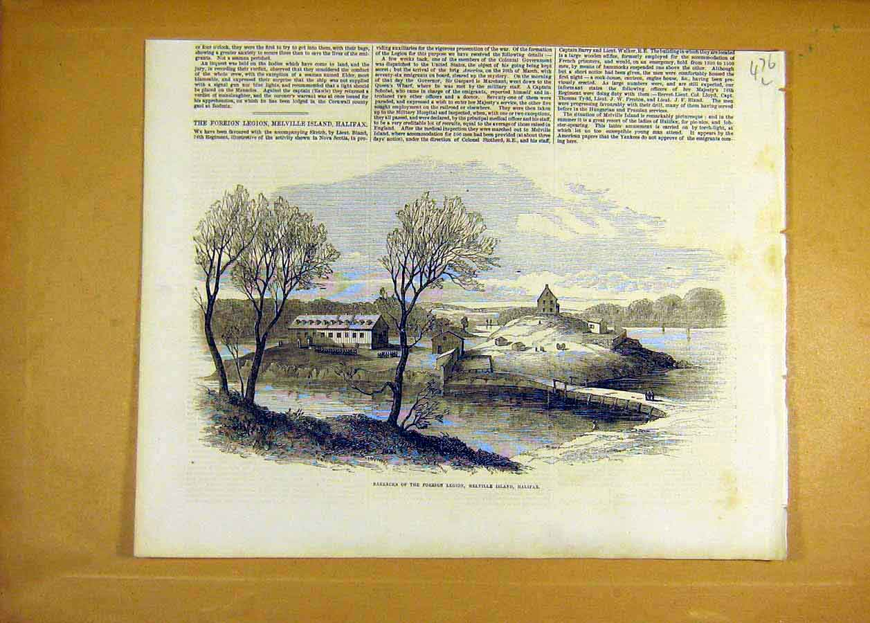 Print Barracks Foreign-Legion Melville Island Halifax 1855 76Lccc0 Old Original