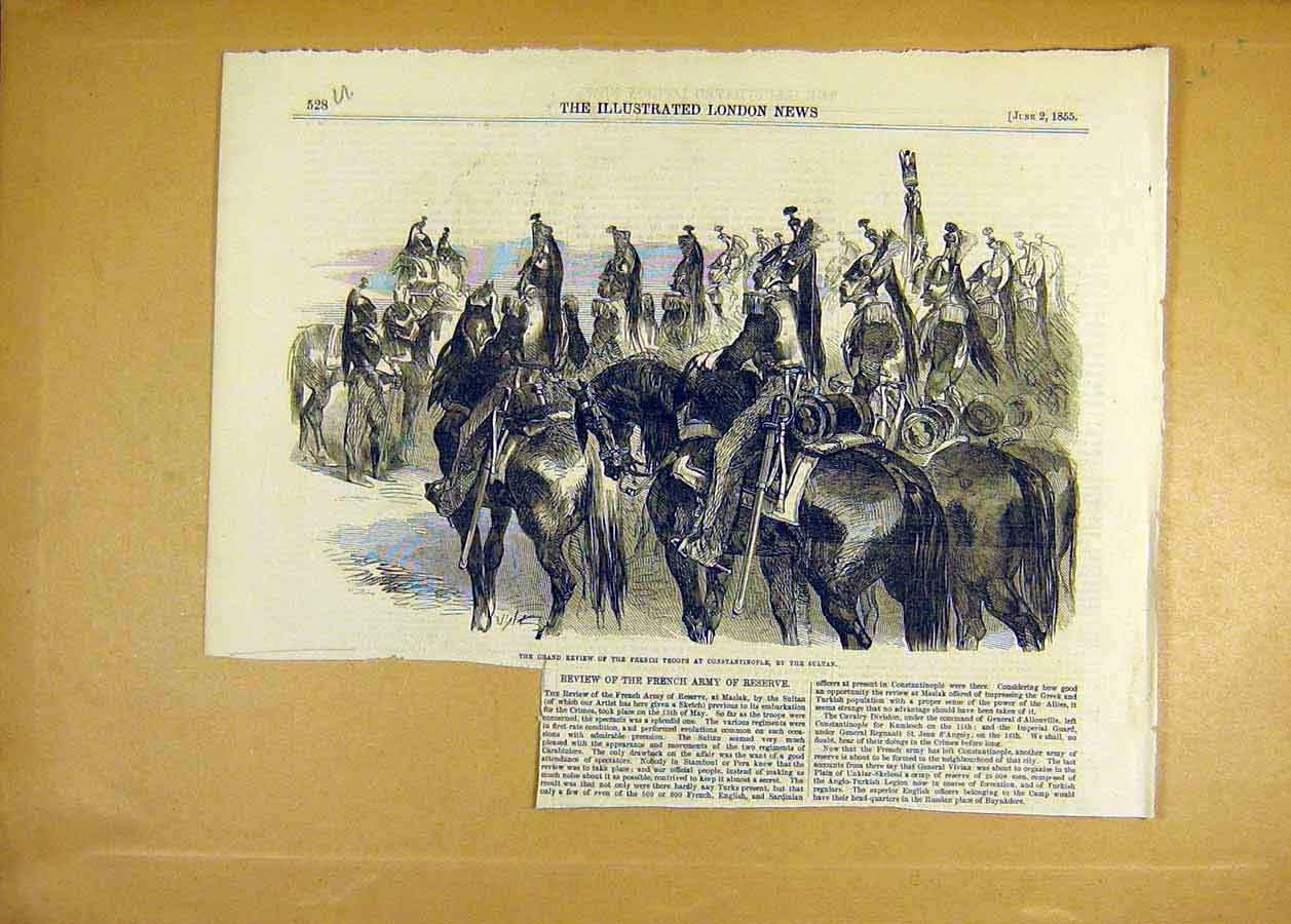 Print Review French Troops Constantinople Sultan 1855 28Uccc0 Old Original