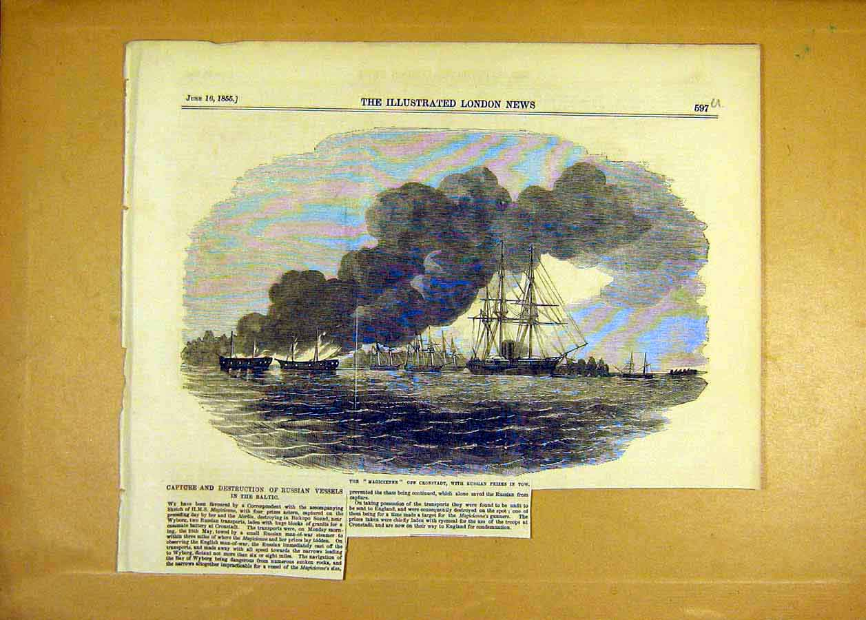 Print Russian Vessels Baltic Fleet Hms Magicienne Naval 1855 97Uccc0 Old Original