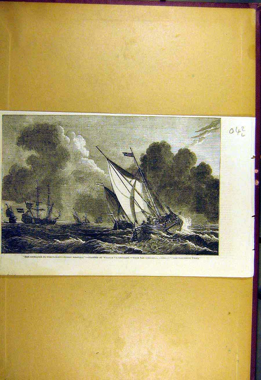 Print 1857 Texel Stormy Weather Boats Ship Vandevelde 42Lccc0 Old Original