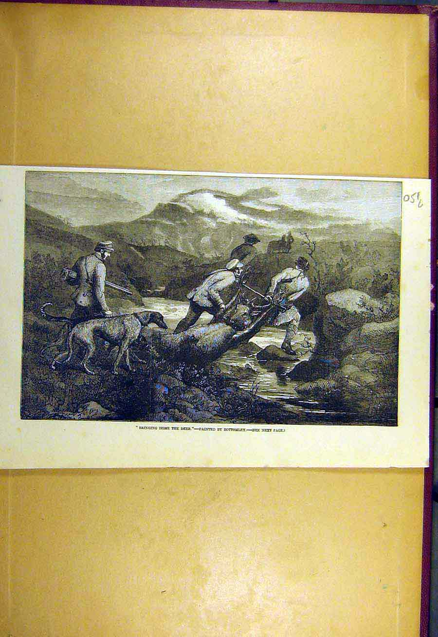 Print 1857 Deer-Hunt Bringing-Home Bottomley Hunting Hound 51Lccc0 Old Original