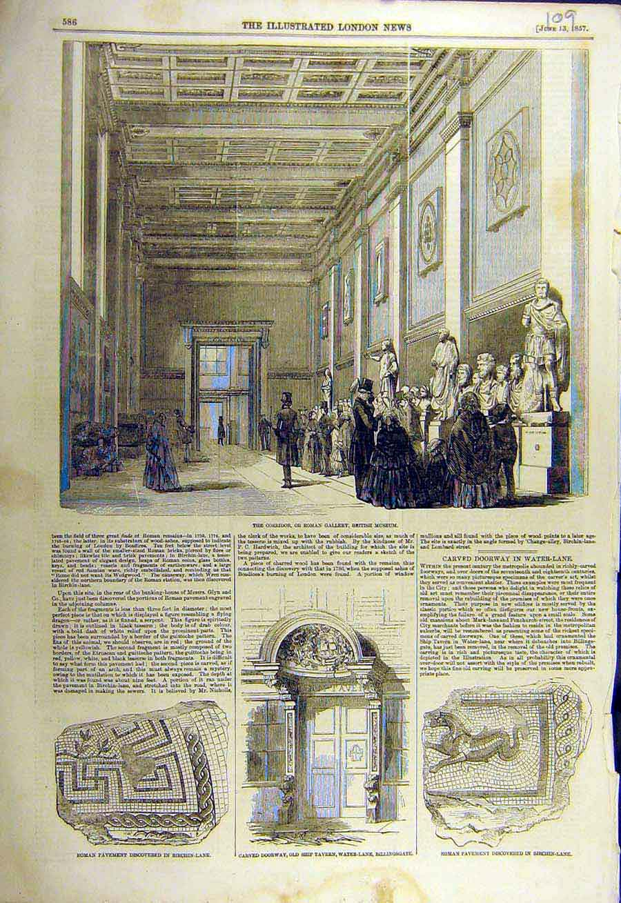 Print 1857 Roman Gallery British Museum Pavement Ship Tavern 09Ccc0 Old Original