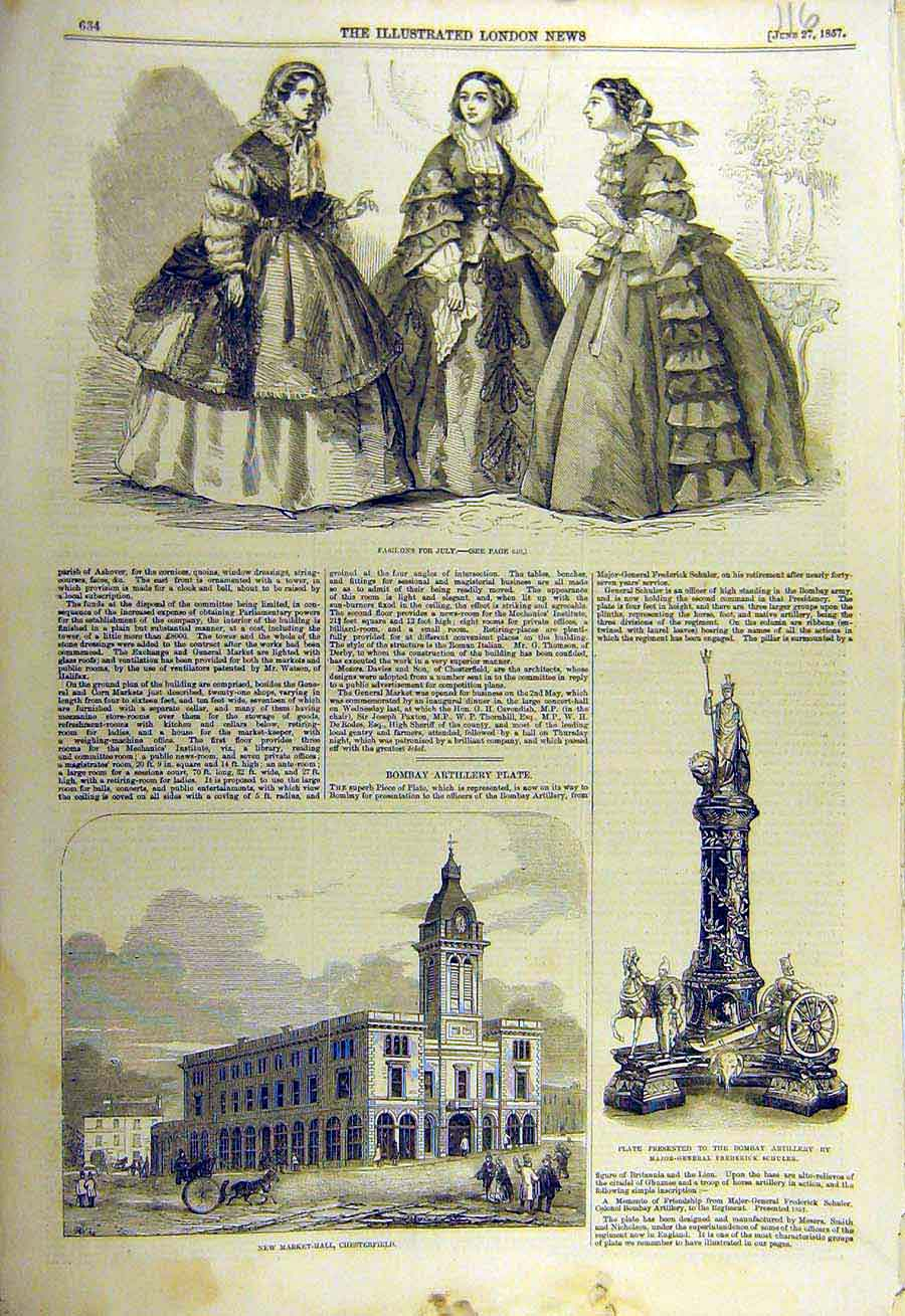 Print 1857 Fashions Ladies Market-Hall Chesterfield Artillery 16Ccc0 Old Original