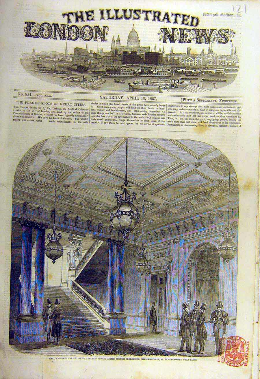 Print 1857 Hall Staircase Junior-United Service Club-House 21Ccc0 Old Original