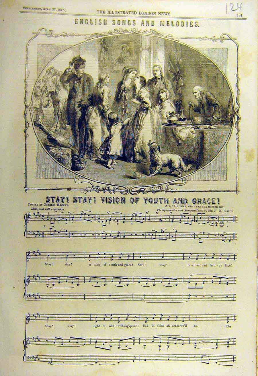 Print 1857 English Songs Melodies Youth Grace Music Score 24Ccc0 Old Original