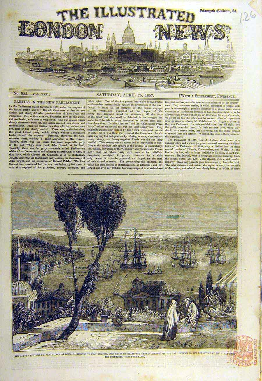 Print 1857 Royal-Albert Bosphorus Sultan Dolmabaghdsche 26Ccc0 Old Original