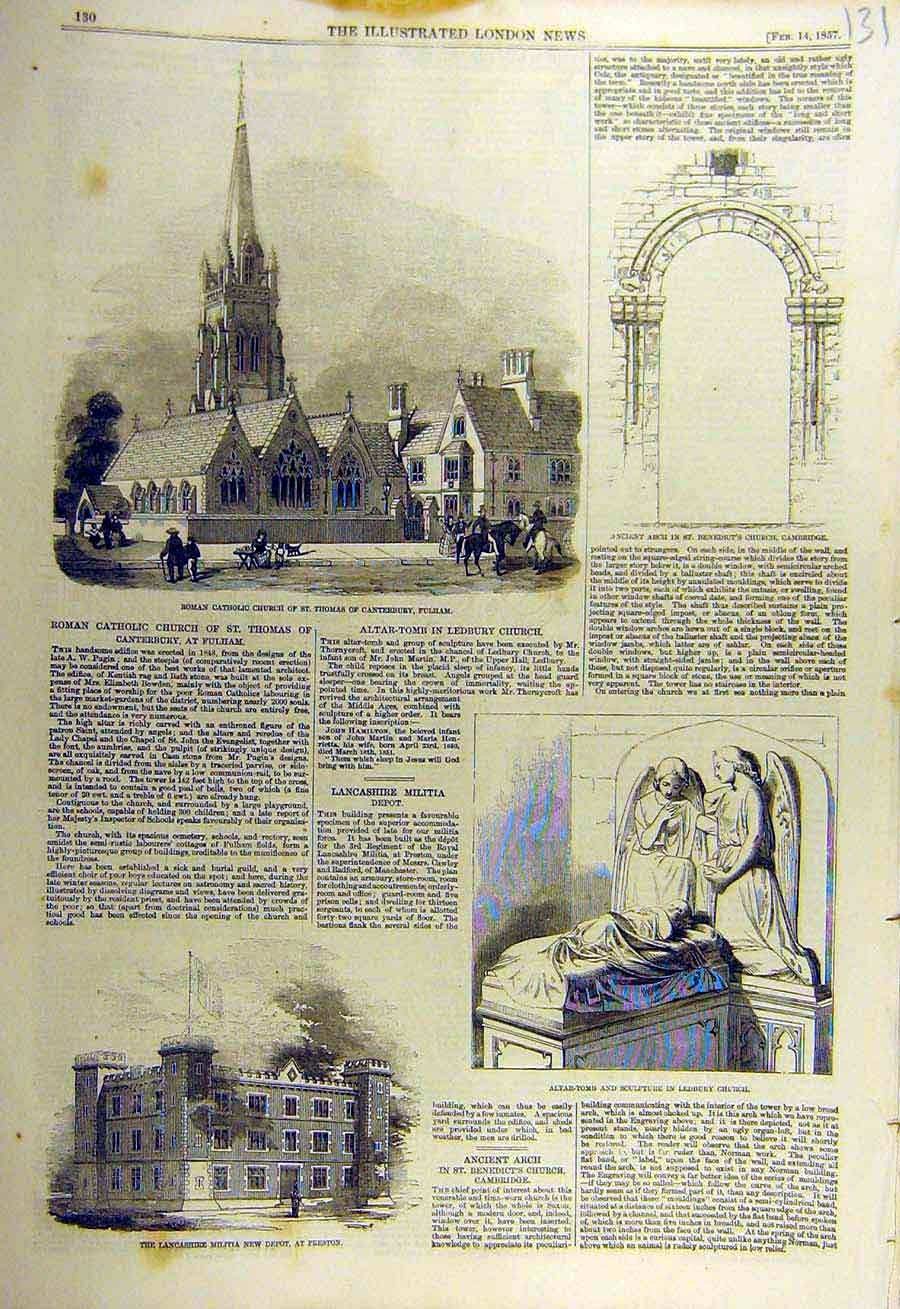Print 1857 Catholic Church Fulham Preston Militia Ledbury 31Ccc0 Old Original