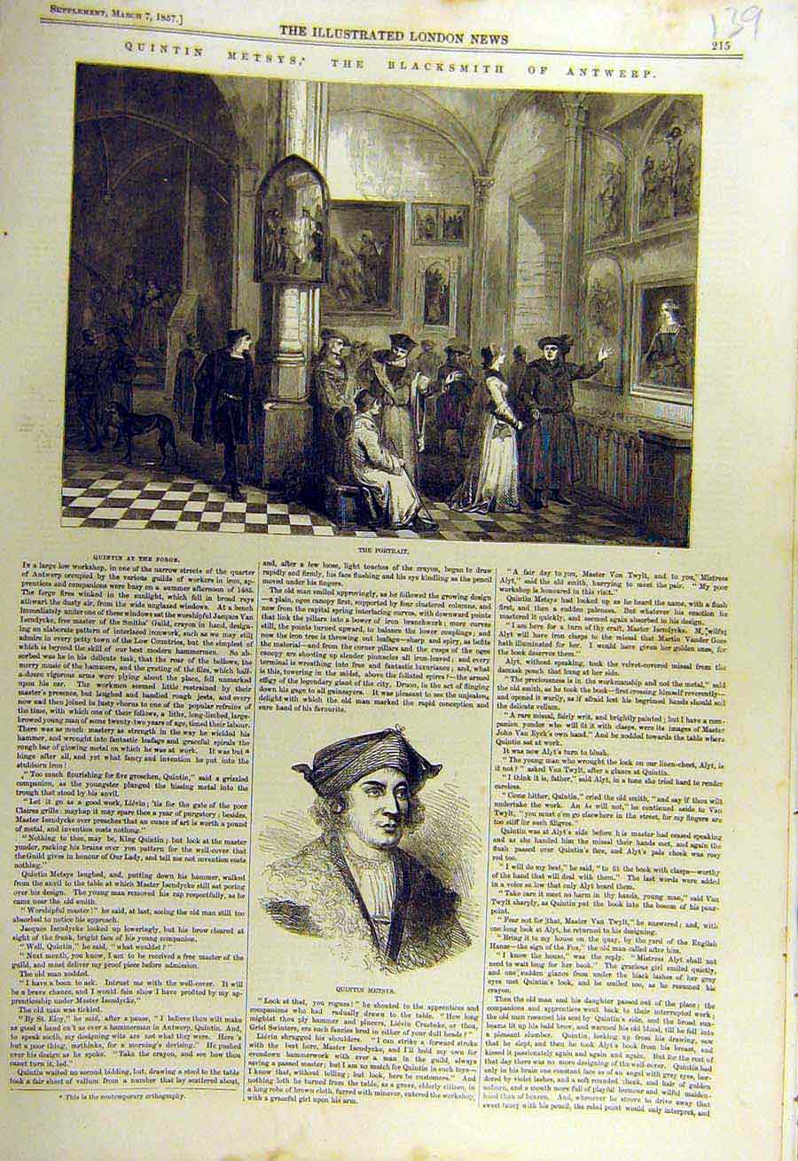 Print 1857 Quentin-Metsys Blacksmith Antwerp Portrait 39Ccc0 Old Original