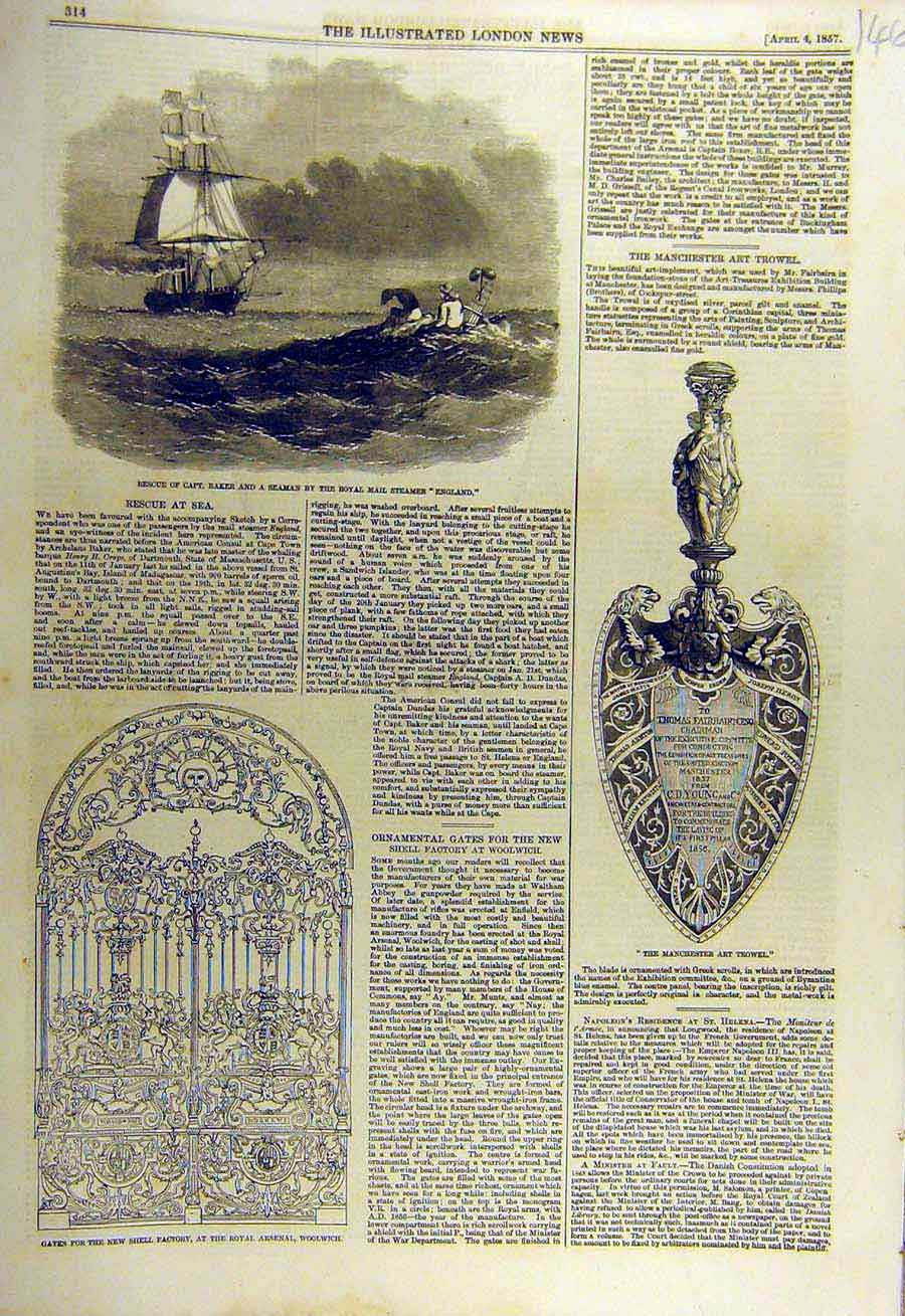 Print 1857 England Mail-Steamer Gates Arsenal Art Trowel 46Ccc0 Old Original