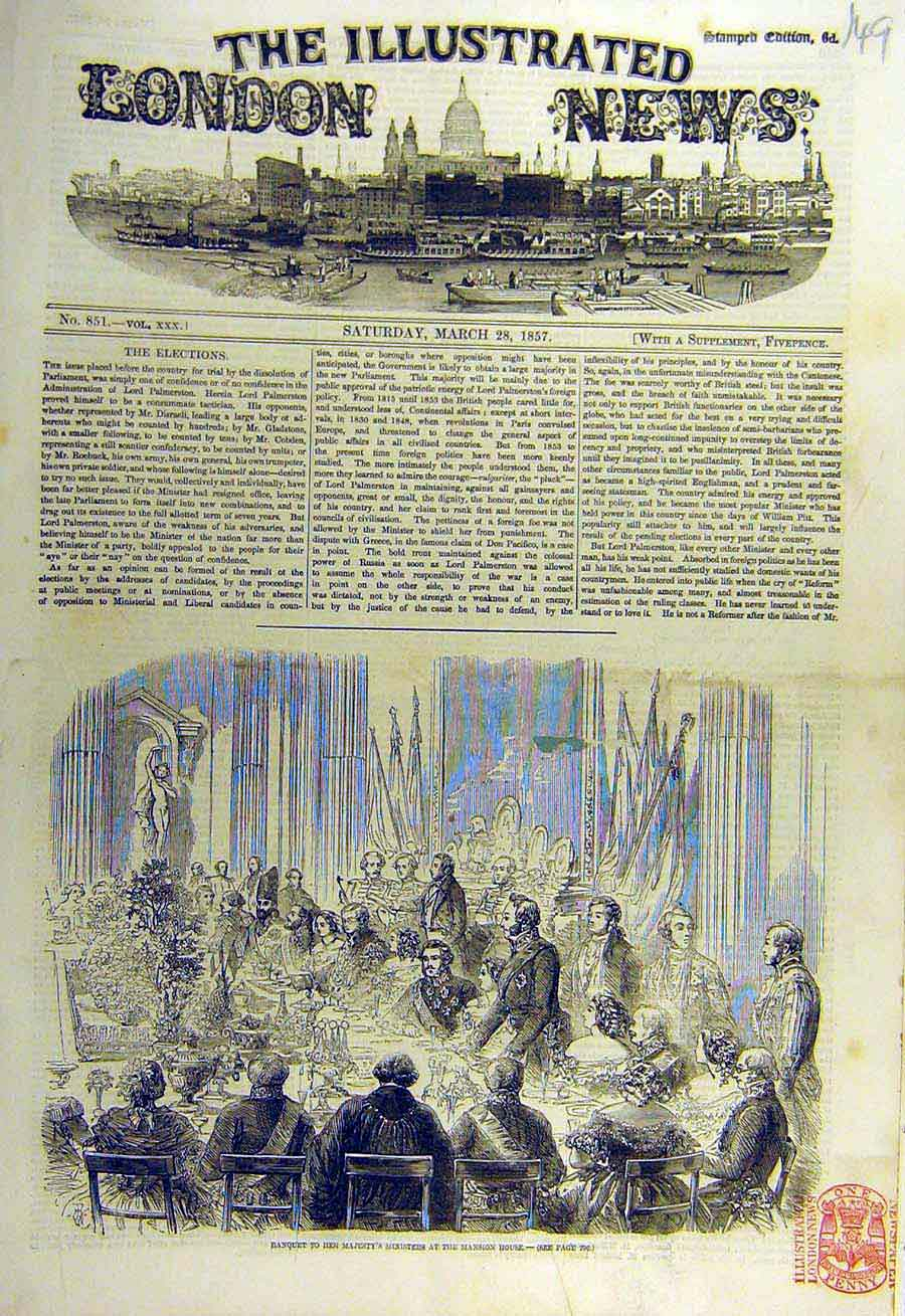 Print 1857 Banquet Mansion House Royal Ministers 49Ccc0 Old Original