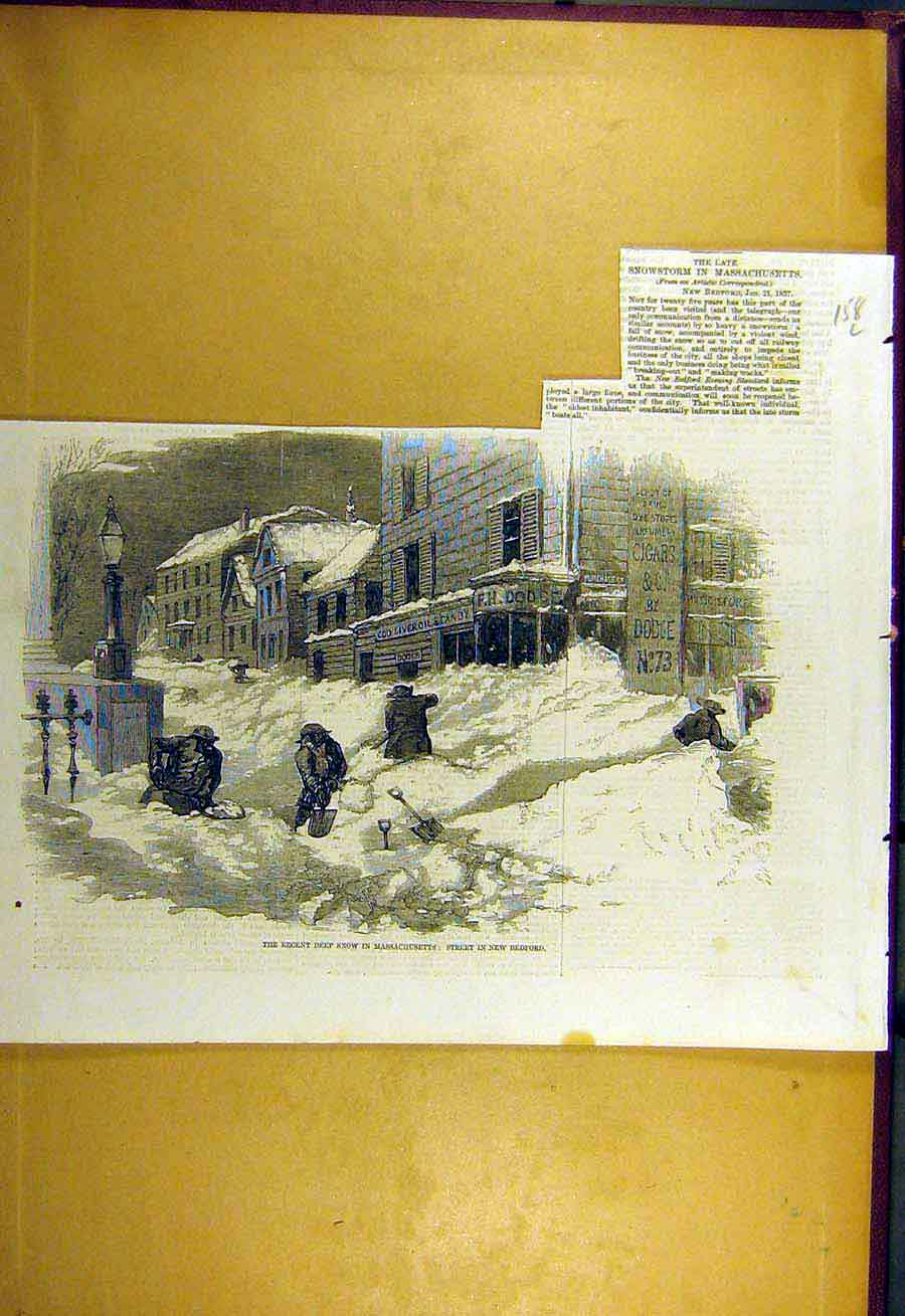 Print 1857 Snowstrom Massachusetts New-Bedford Usa 58Lccc0 Old Original