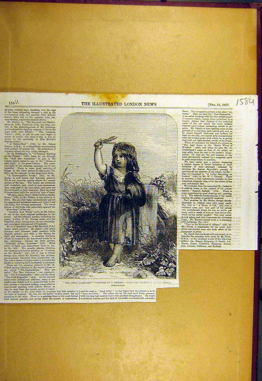 Print 1857 Little-Scarecrow Dicksee Child Girl Fine Art 58Uccc0 Old Original