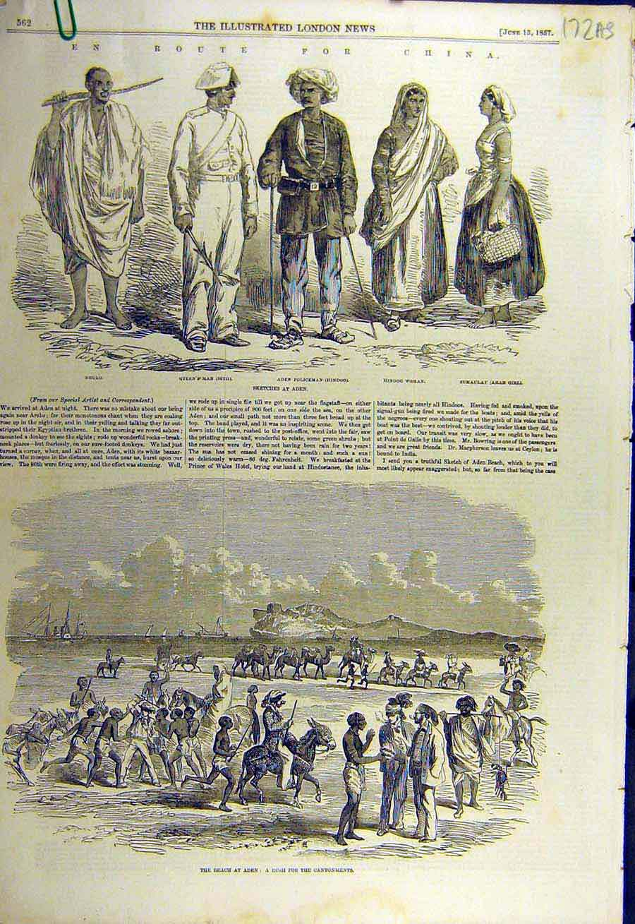Print 1857 China Military Aden Sketches Beach Tropics Indian 72Accc0 Old Original