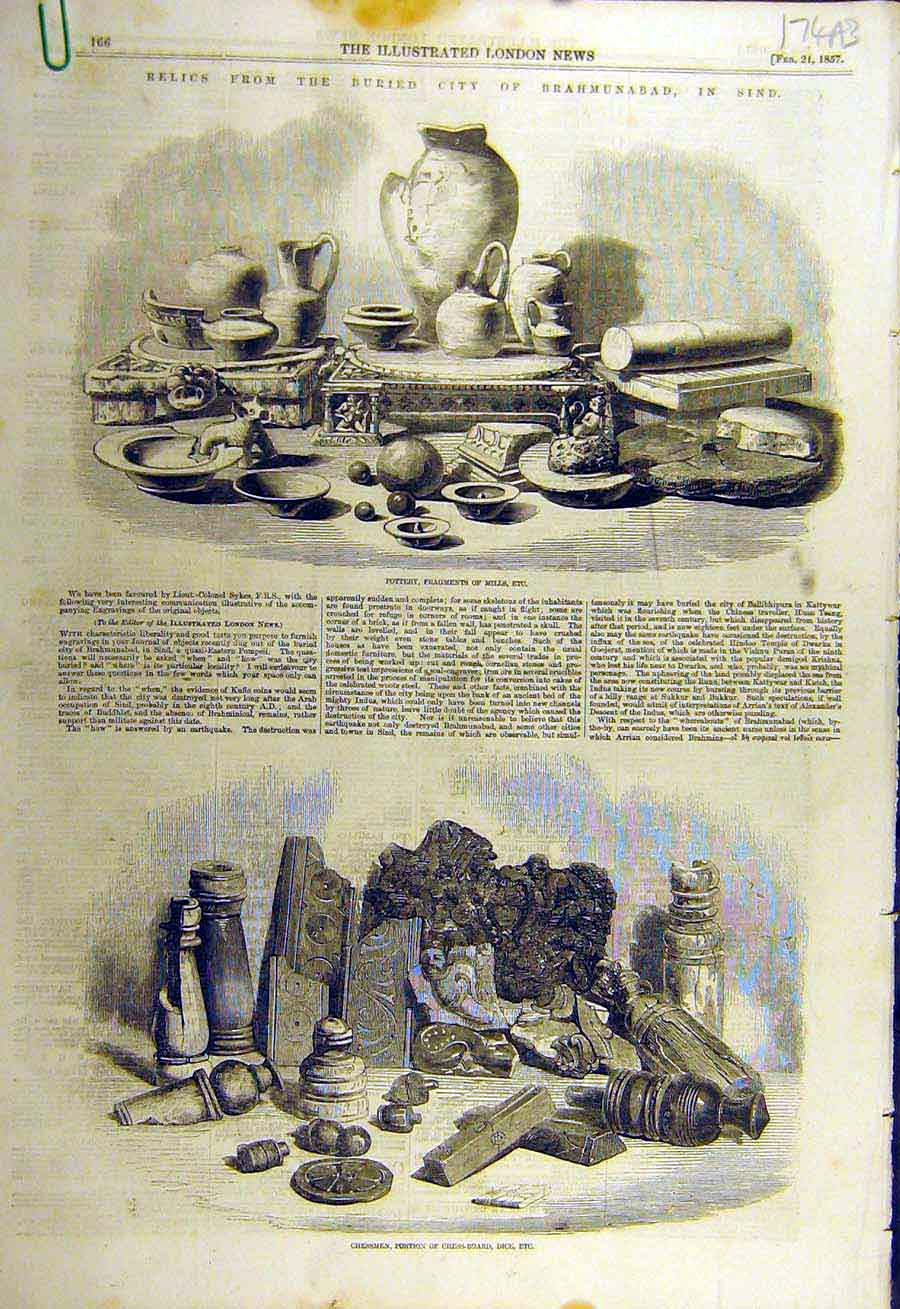 Print 1857 Relics Brahmunabad Sind Pottery Chess Glass Coins 74Accc0 Old Original