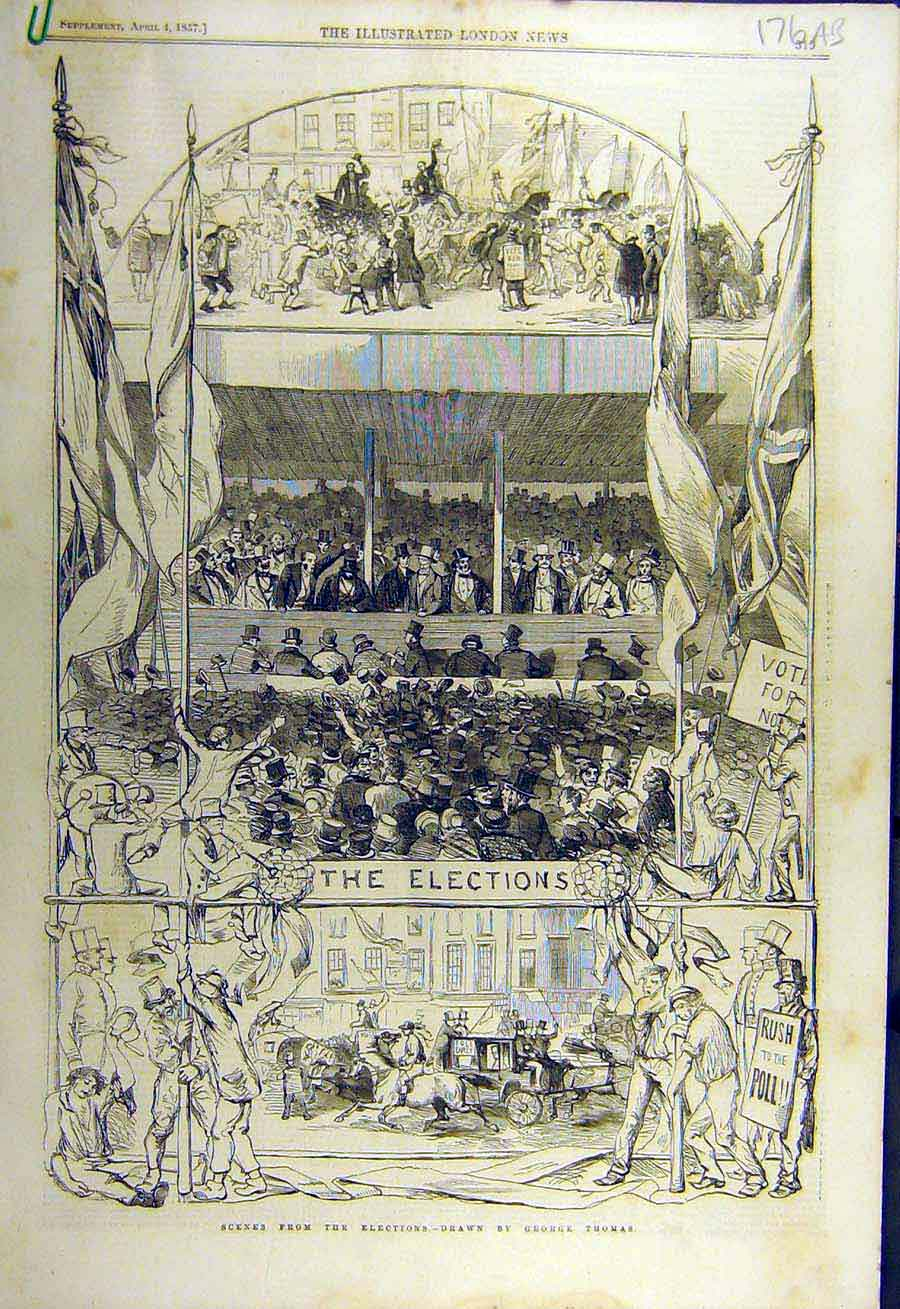 Print 1857 Elections Sketches Thomas London Russell Finsbury 76Accc0 Old Original