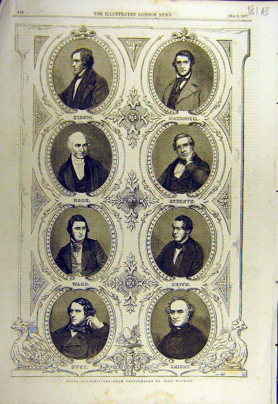 Print 1857 Royal Academy Members Portraits Associates 81Accc0 Old Original