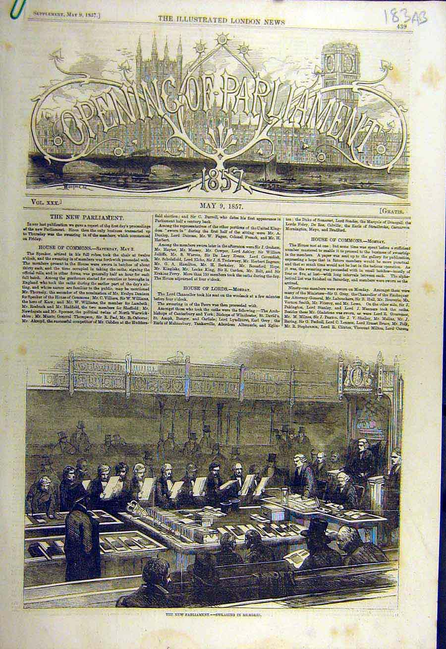 Print 1857 Parliament Members Jewels Devonshire Gems Holborn 83Accc0 Old Original