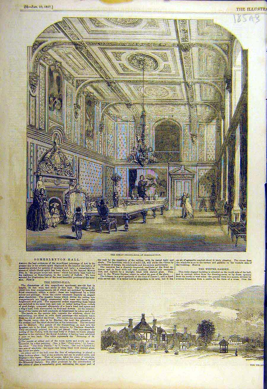 Print 1857 Dining-Hall Somerleyton Winter-Garden 85Accc0 Old Original