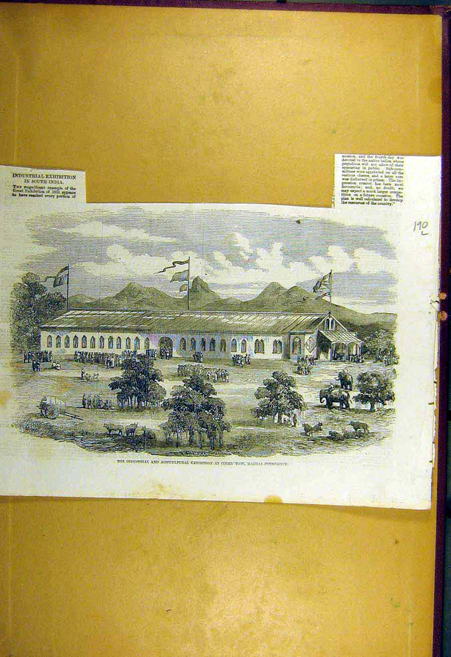 Print 1857 Industrial Agricultural Coimb'Tore Madras India 90Lccc0 Old Original