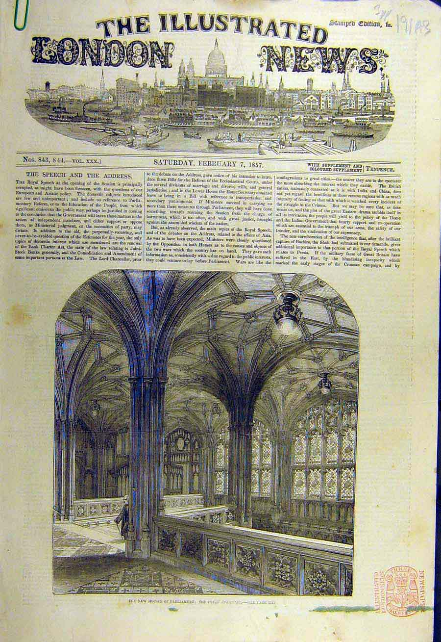 Print 1857 Houses-Parliament Peers Staircase Building Porch 91Accc0 Old Original