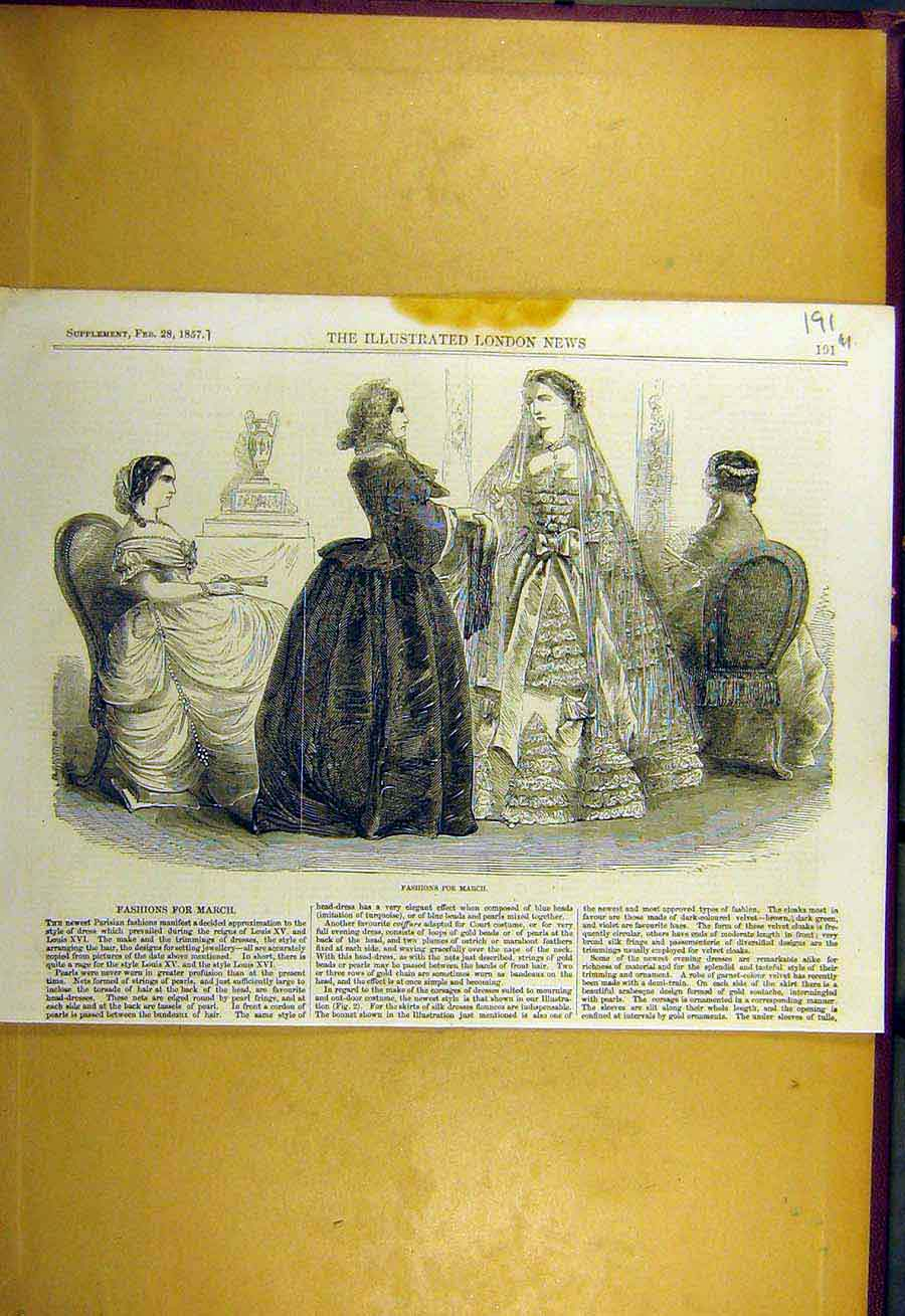 Print 1857 Fashion Ladies Gowns Dresses Sketches 91Uccc0 Old Original