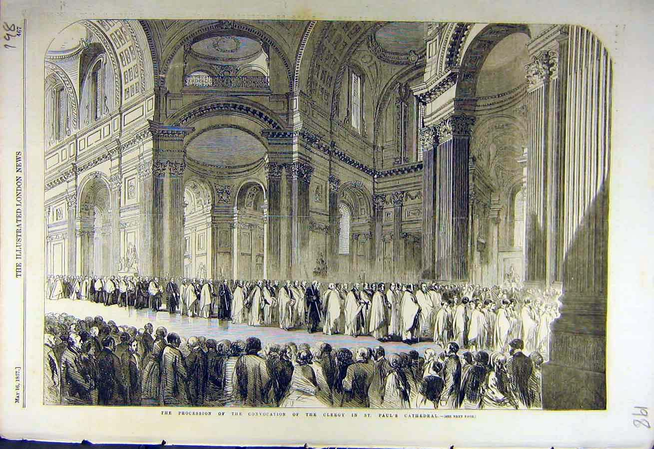 Print 1857 Procession Clergy St. Paul'S Cathedral 98Ccc0 Old Original