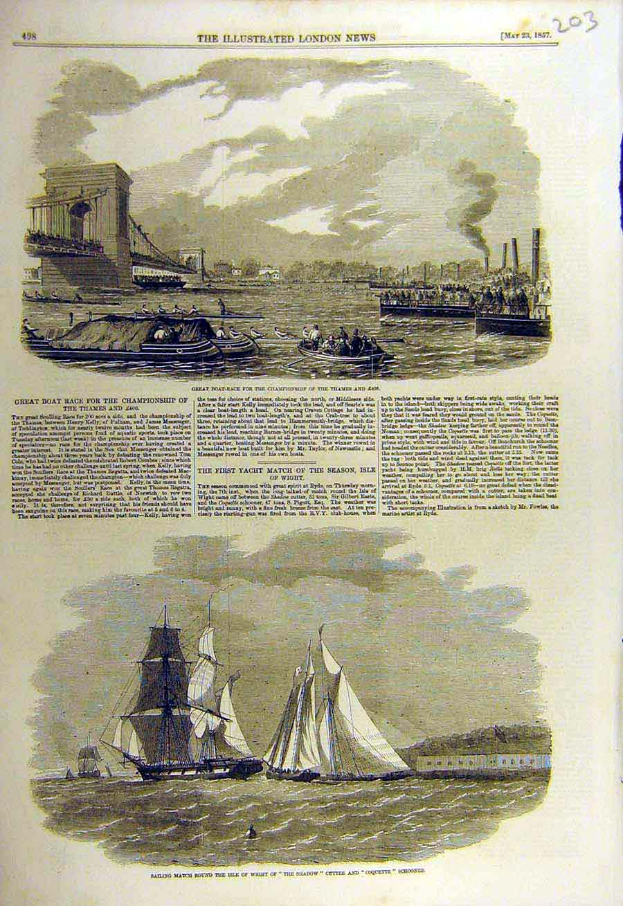 Print 1857 Boat-Race Championship Thames Wight Yacht Shadow 03Ccc0 Old Original