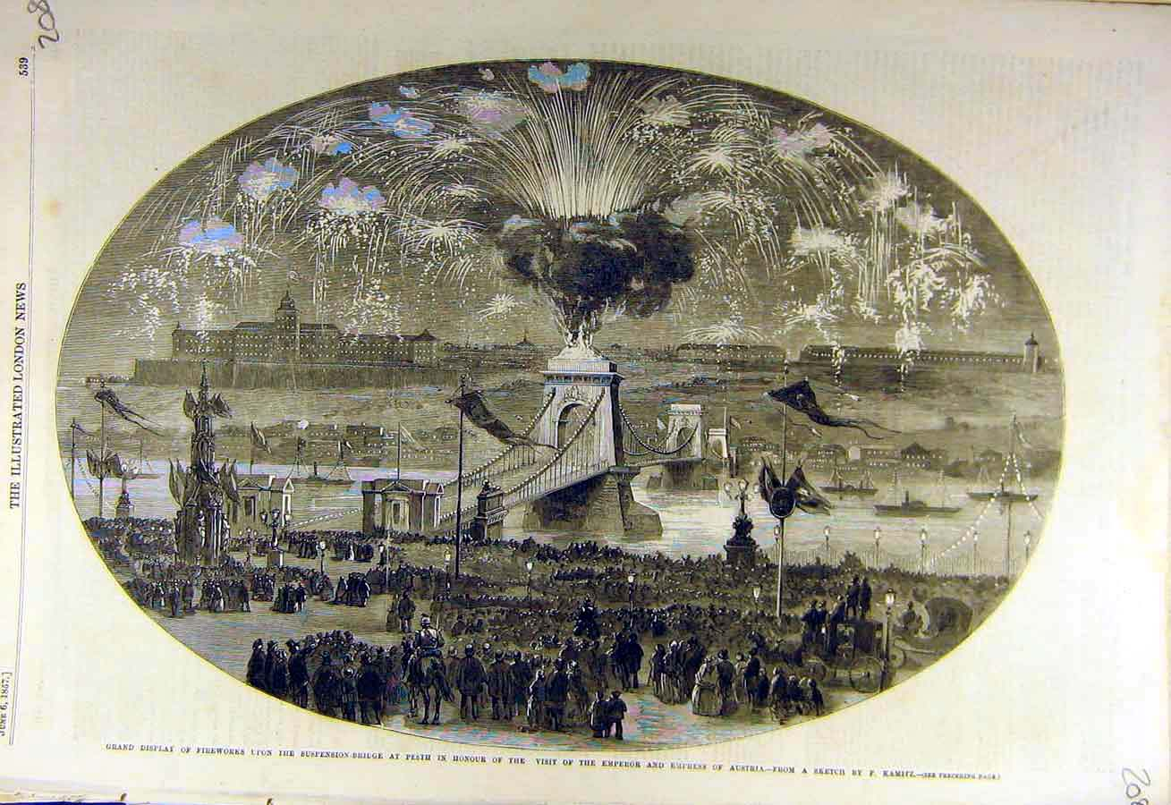 Print 1857 Fireworks Suspension-Bridge Pesth Kamitz Emperor 08Ccc0 Old Original