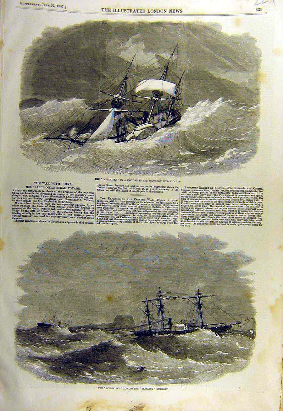 Print 1857 Inflexible Cyclone Indian-Ocean Starling Gunboat 24Ccc0 Old Original