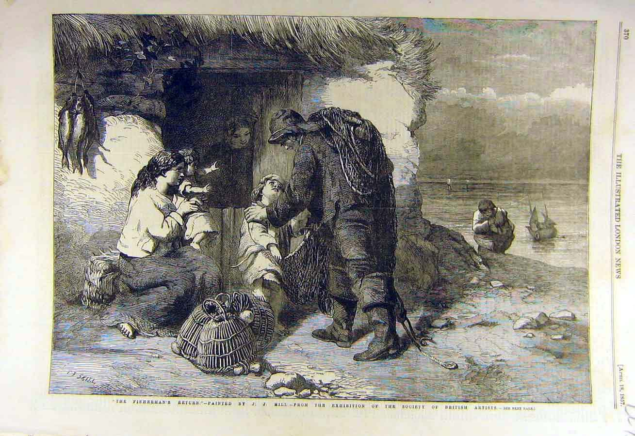 Print 1857 Fisherman'S Return Hill Fine Art Fish 27Ccc0 Old Original
