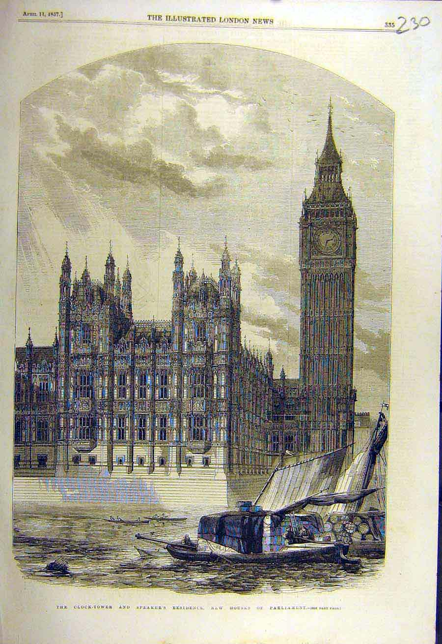 Print 1857 Clock-Tower Speaker'S Residence Houses Parliament 30Ccc0 Old Original