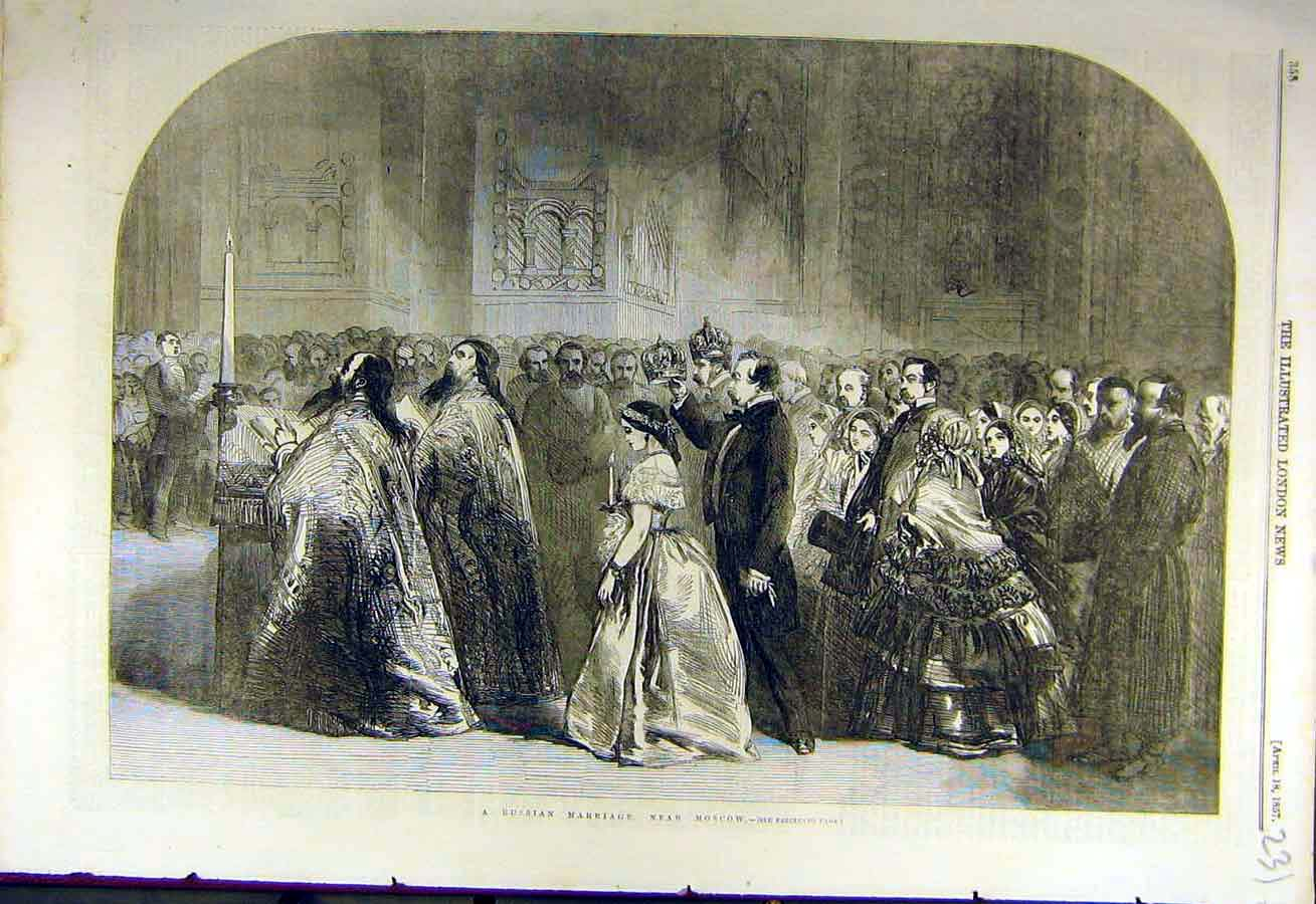 Print 1857 Russian Marriages Moscow Russian People Wedding 31Ccc0 Old Original