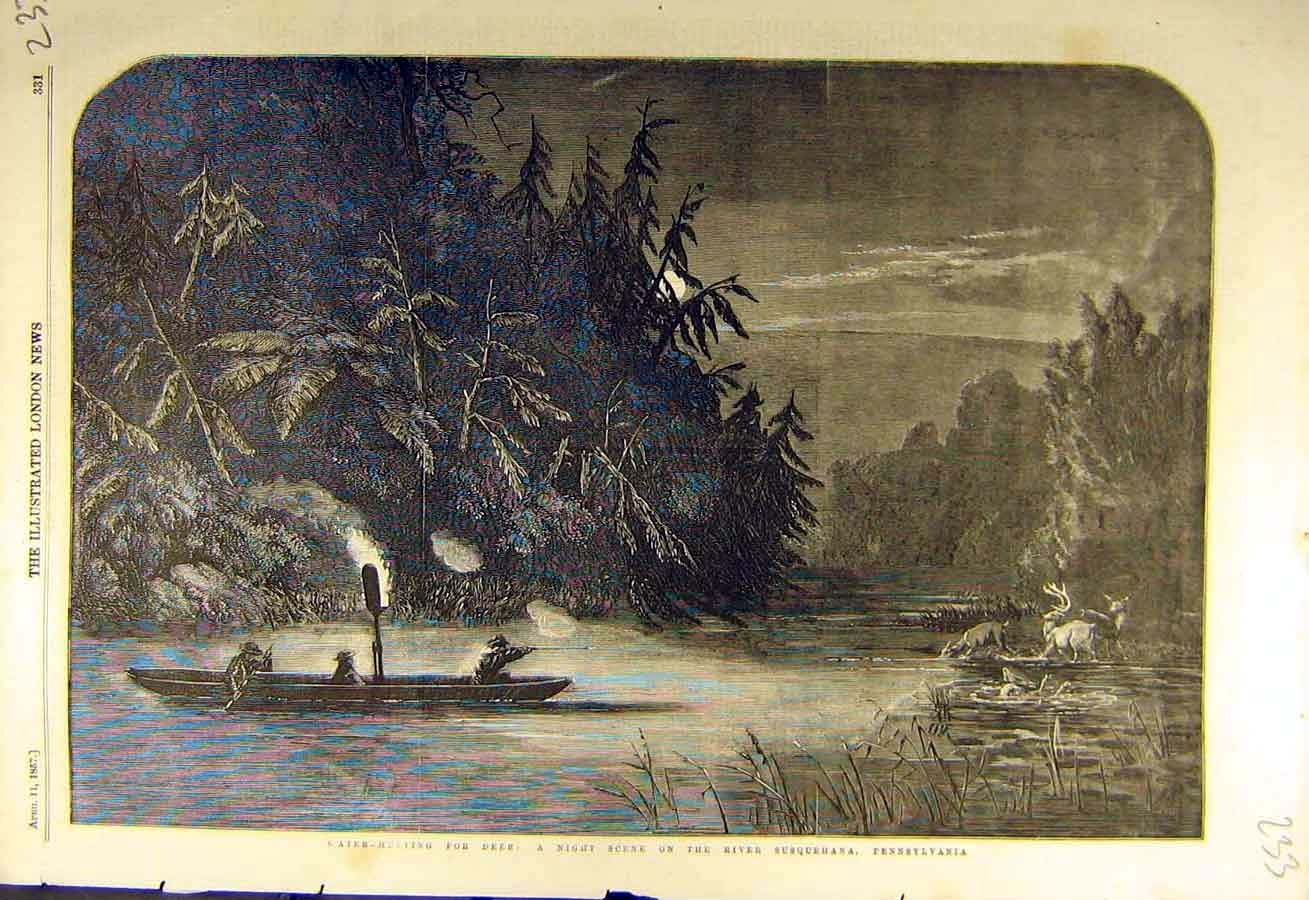 Print 1857 Water-Hunting Deer River Susquehana Pennsylvania 33Ccc0 Old Original