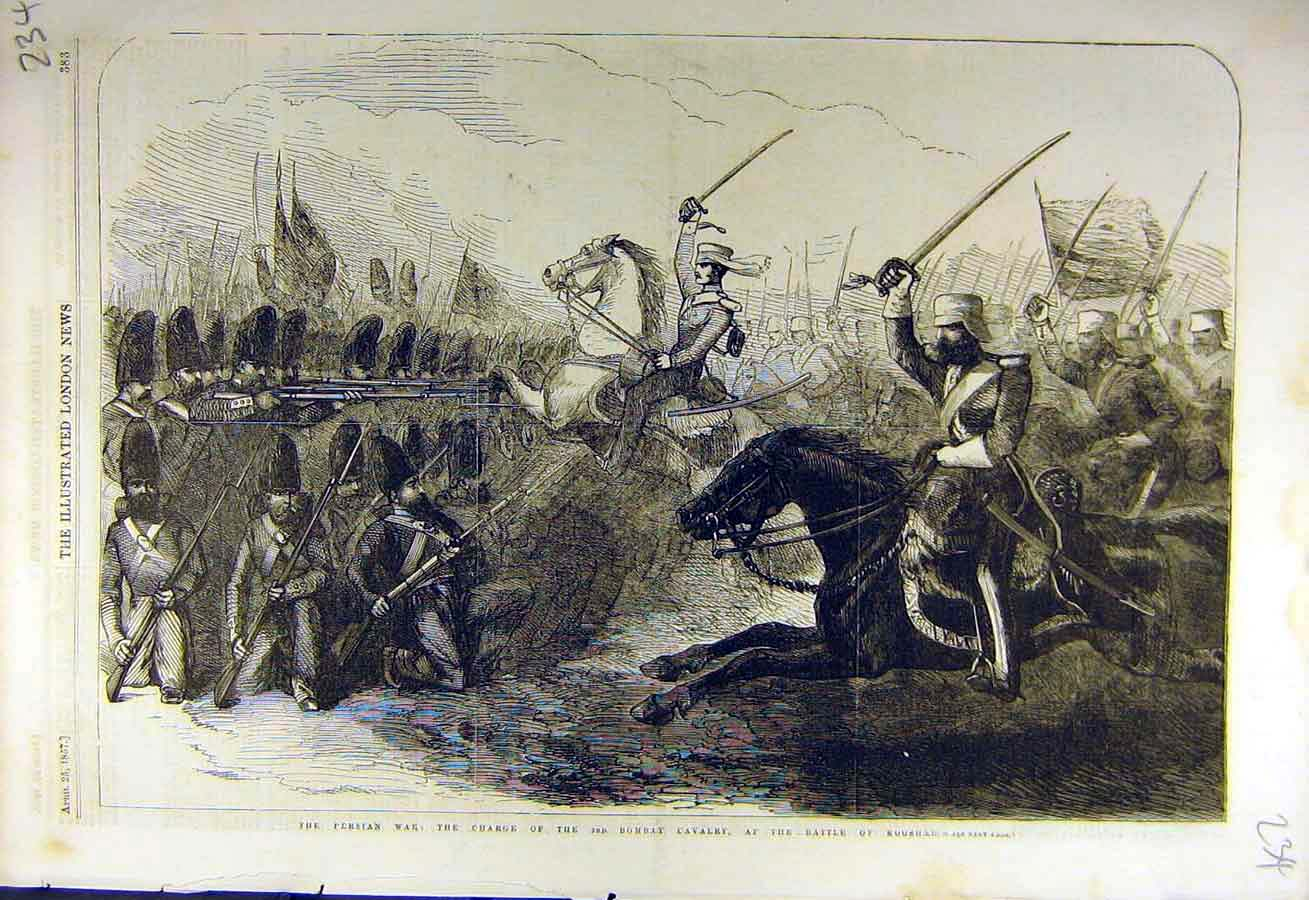 Print 1857 Persian War Charge 3Rd Bombay Cavalry Kooshar 34Ccc0 Old Original